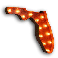 "Marquee Symbol Lights - 24"" Florida Vintage Marquee Lights Sign (Rustic)"
