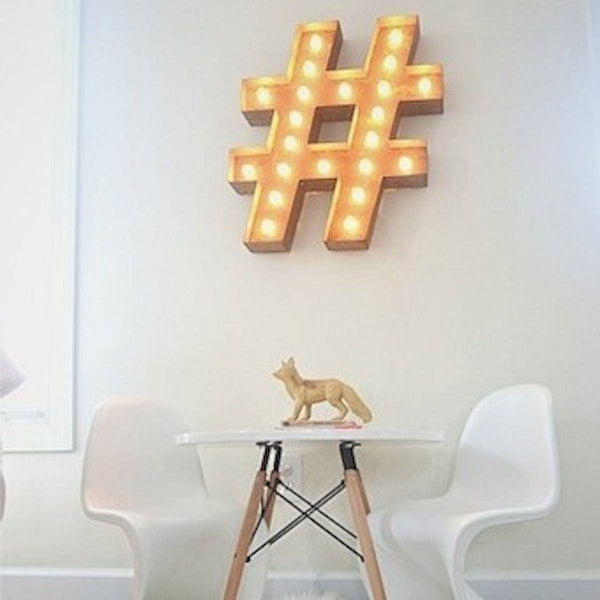 "Marquee Symbol Lights - 24"" Hashtag ""#"" Vintage Marquee Lights Sign (Rustic)"