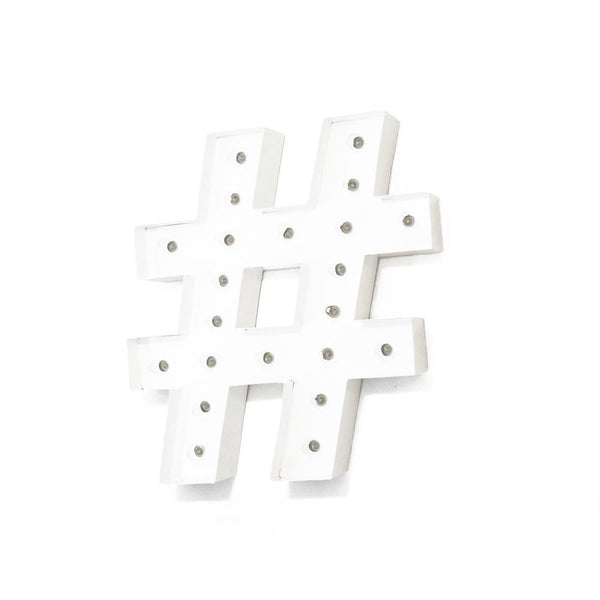 "Marquee Symbol Lights - 24"" Hashtag ""#"" Vintage Marquee Lights Sign (White Finish)"