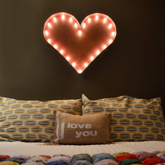 "Marquee Symbol Lights - 24"" Heart Vintage Marquee Lights Sign (Rustic)"