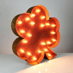 "Marquee Symbol Lights - 24"" Irish Shamrock Vintage Marquee Lights Sign (Rustic)"