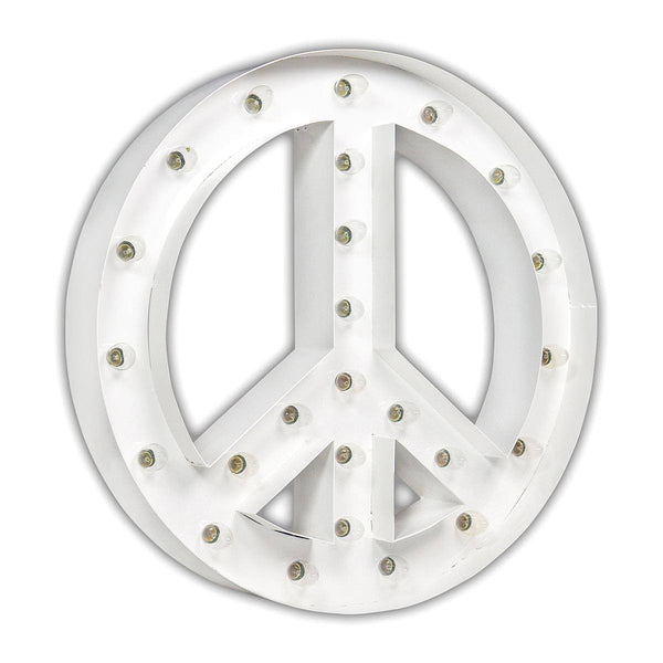 "Marquee Symbol Lights - 24"" Peace Sign Marquee Sign With Lights (White Gloss)"