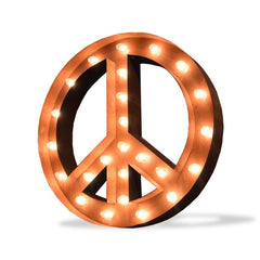 "Marquee Symbol Lights - 24"" Peace Sign Vintage Marquee Sign With Lights (Rustic)"