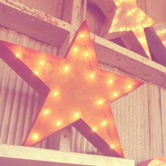 "Marquee Symbol Lights - 24"" Star Vintage Marquee Lights Sign (Rustic)"
