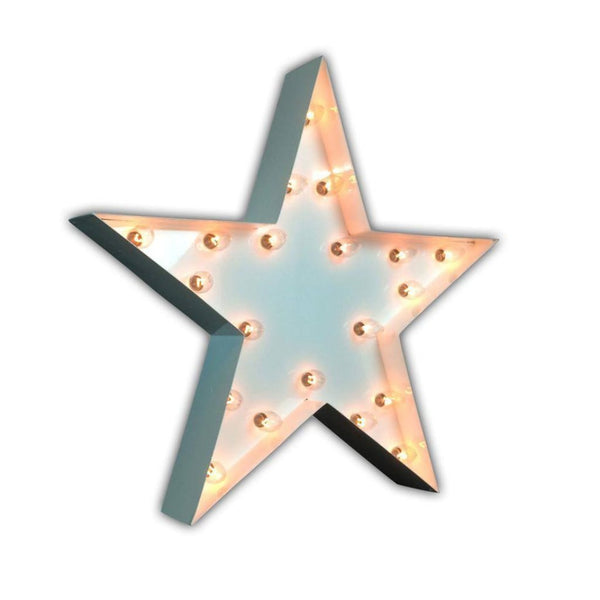 "Marquee Symbol Lights - 24"" Star Vintage Marquee Lights Sign (White Gloss)"