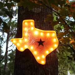 "Marquee Symbol Lights - 24"" Texas Vintage Marquee Lights Sign (Rustic)"