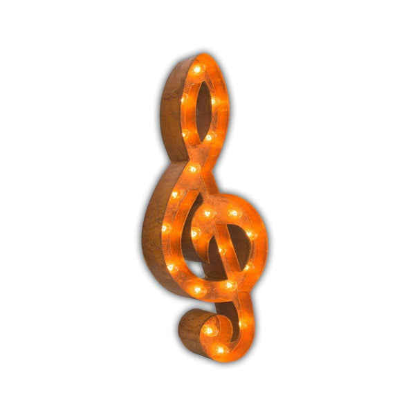 "Marquee Symbol Lights - 24"" Treble Clef Music Vintage Marquee Lights Sign (Rustic)"