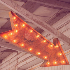 "Marquee Symbol Lights - 36"" Large Arrow Vintage Marquee Sign With Lights (Rustic)"