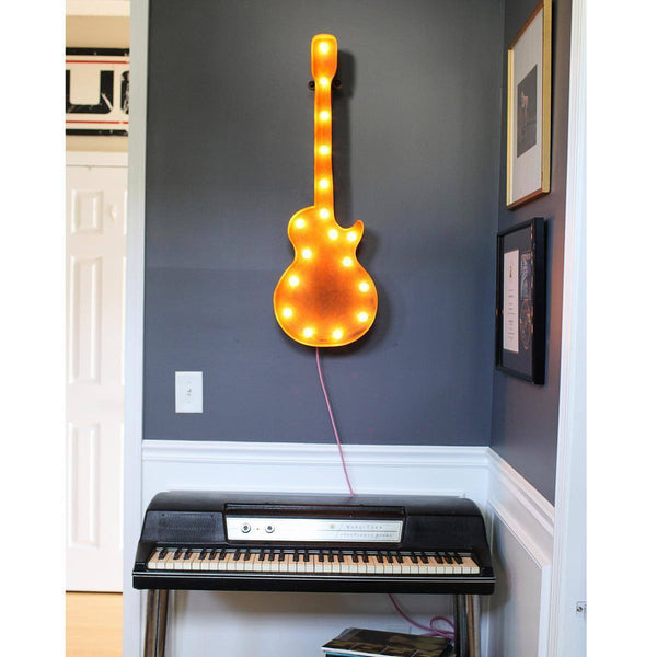 "Marquee Symbol Lights - 36"" Large Guitar Vintage Marquee Sign With Lights (Rustic)"