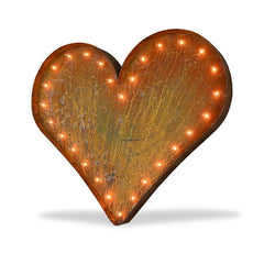 "Marquee Symbol Lights - 36"" Large Heart Vintage Marquee Sign With Lights (Rustic)"
