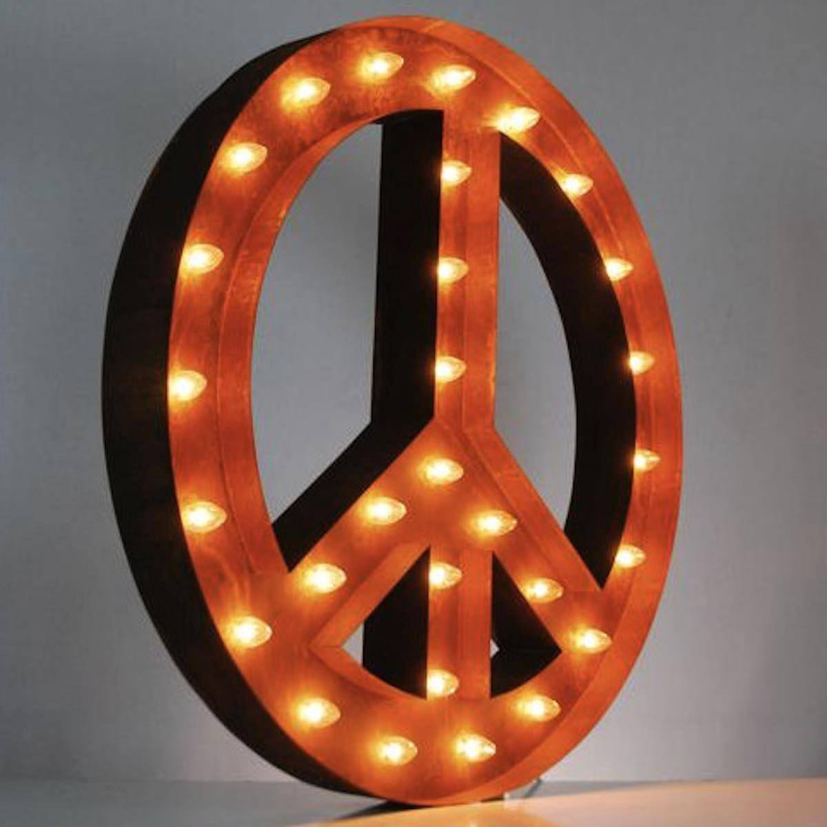 ... Marquee Symbol Lights - 36 Large Peace Sign Vintage Marquee Sign With  Lights (Rustic ...