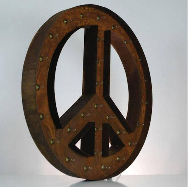 "Marquee Symbol Lights - 36"" Large Peace Sign Vintage Marquee Sign With Lights (Rustic)"