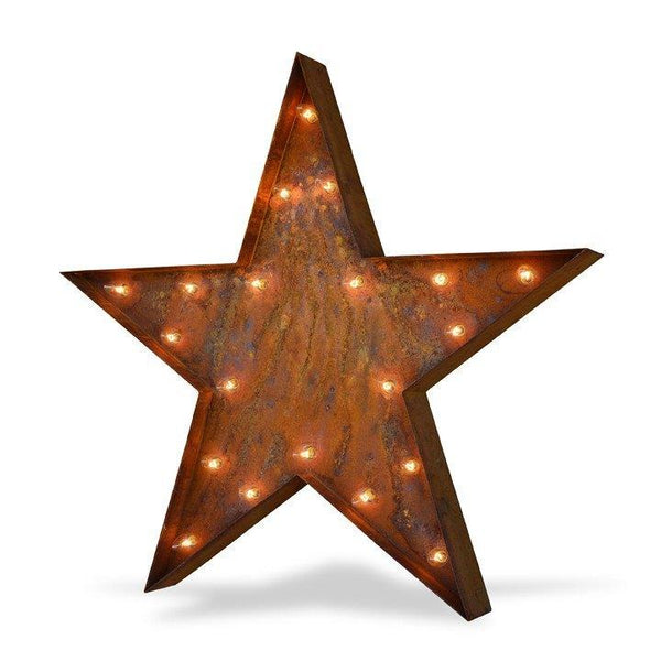 "Marquee Symbol Lights - 36"" Large Star Vintage Marquee Sign With Lights (Rustic)"
