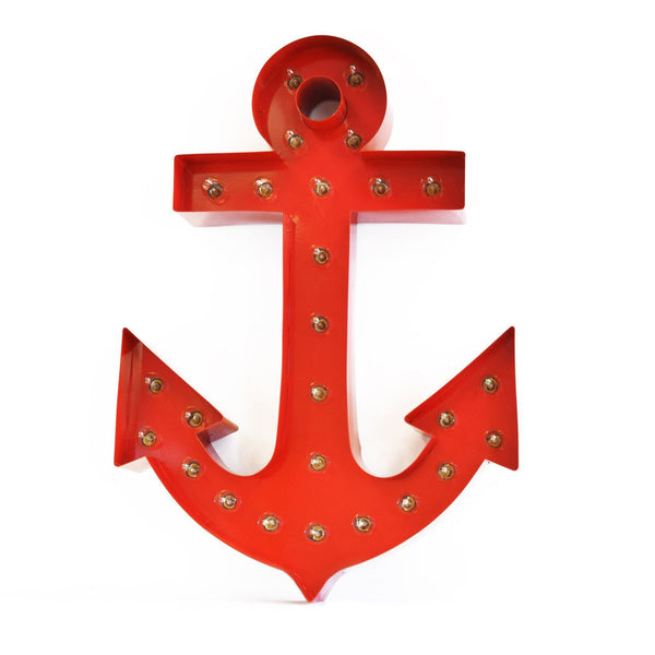 Marquee Symbol Lights - Anchor Vintage Marquee Lights Sign (Red Finish)