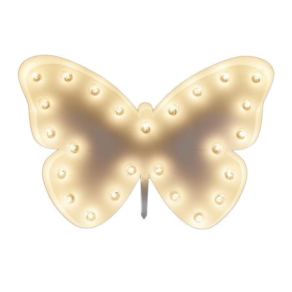 Marquee Symbol Lights - Butterfly Vintage Marquee Lights Sign (White Finish)