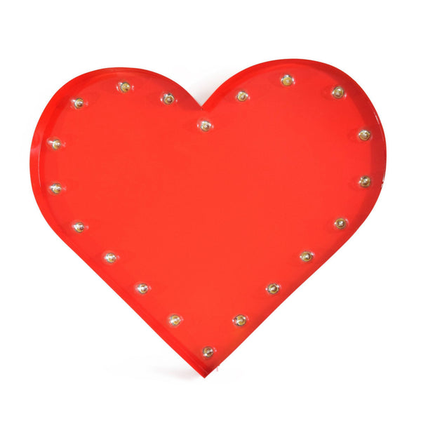 Marquee Symbol Lights - Heart Vintage Marquee Lights Sign (Red Finish)