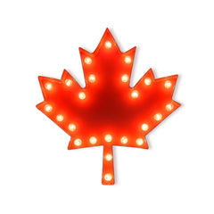 Marquee Symbol Lights - Maple Leaf Vintage Marquee Lights Sign (Red Finish)