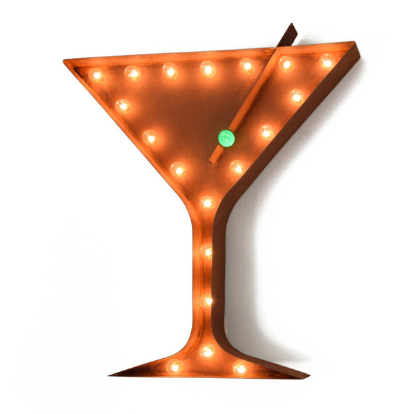 Marquee Symbol Lights - Martini Vintage Marquee Lights Sign (Rustic)
