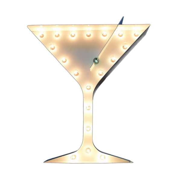 Marquee Symbol Lights - Martini Vintage Marquee Lights Sign (White Finish)