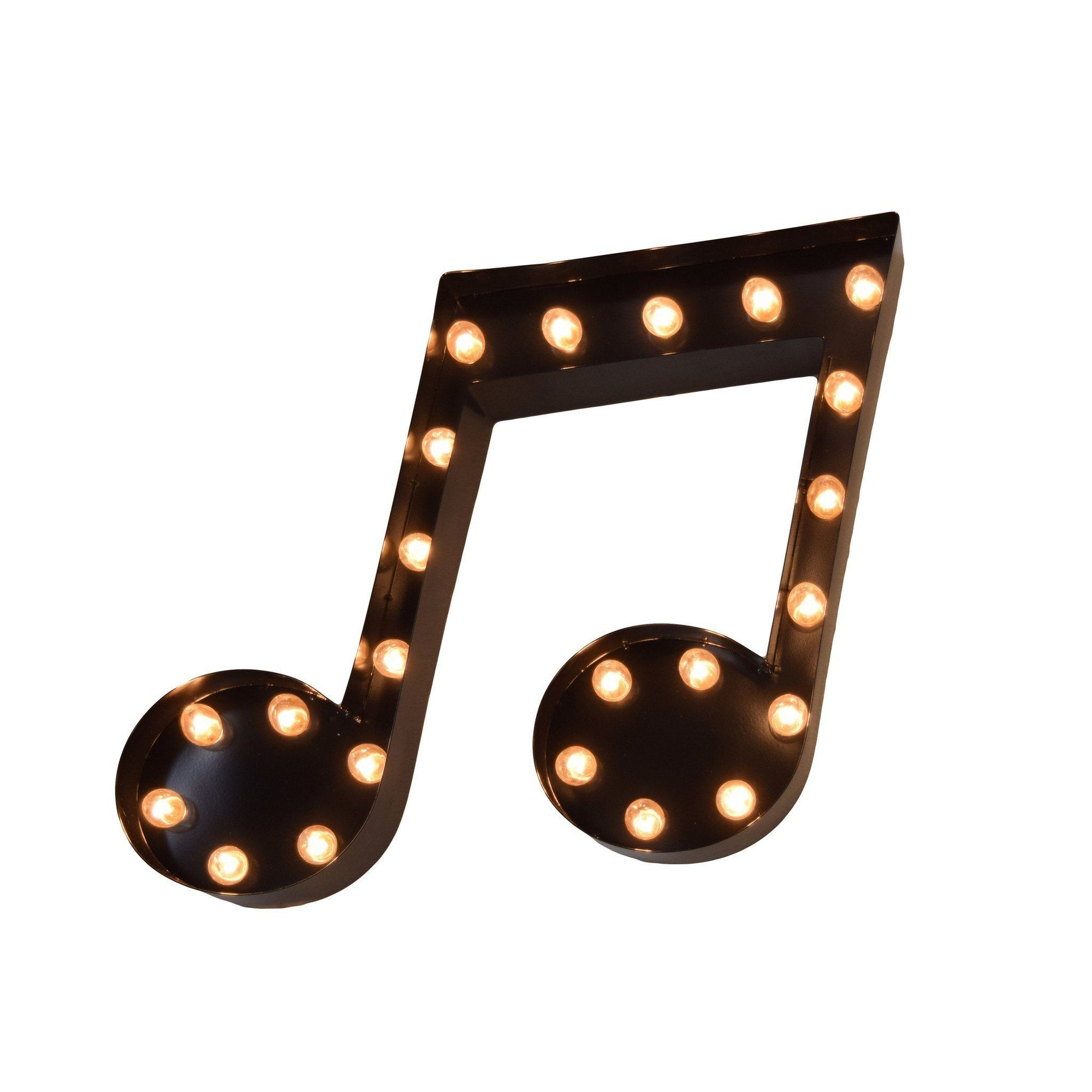 Marquee Symbol Lights - Music Note Vintage Marquee Lights Sign (Black Finish)
