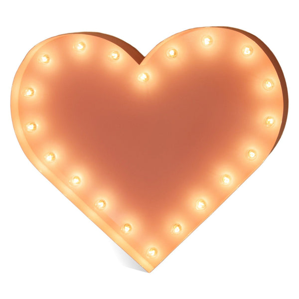 Marquee Symbol Lights - One Foot Small Heart Vintage Marquee Sign With Lights (Pink Finish)