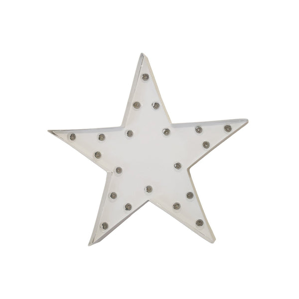 Marquee Symbol Lights - One Foot Small Star Vintage Marquee Sign (White Finish)