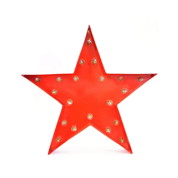 Marquee Symbol Lights - Star Vintage Marquee Lights Sign (Red Finish)