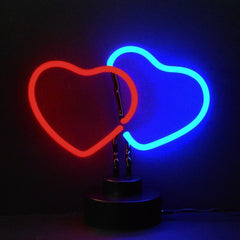 Neon Sculptures - Double Hearts Neon Sculpture