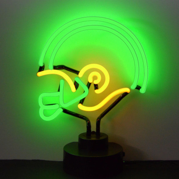 Neon Sculptures - Green And Yellow Football Helmet Neon Sculpture