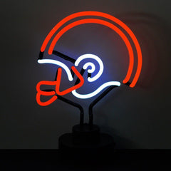 Neon Sculptures - Orange And White Football Helmet Neon Sculpture