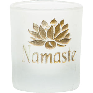 Namaste Lotus Etched Glass Votive Candle Holder