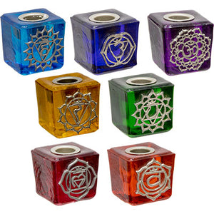 Chakra Mini Glass Candle Holder Cubes