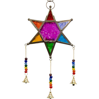 5-Point Star Chakras Multicolor with Bells ~Glass & Metal Lantern