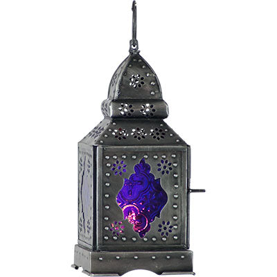 Glass & Metal Lantern ~ Purple ~ Candle Holder