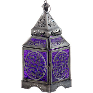 Flower of Life Glass & Metal Lantern ~ Purple ~ Candle Holder