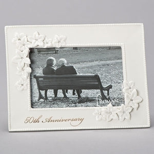 50th Wedding Anniversary Love Blooms Porcelain Photo Frame