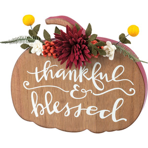 Thankful & Blessed Wooden Chunky Sitter