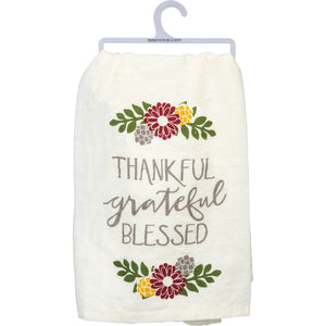 Thankful Grateful Blessed Dish Towel