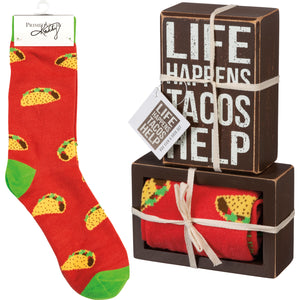Life Happens Tacos Help Socks & Box Sign Gift Set