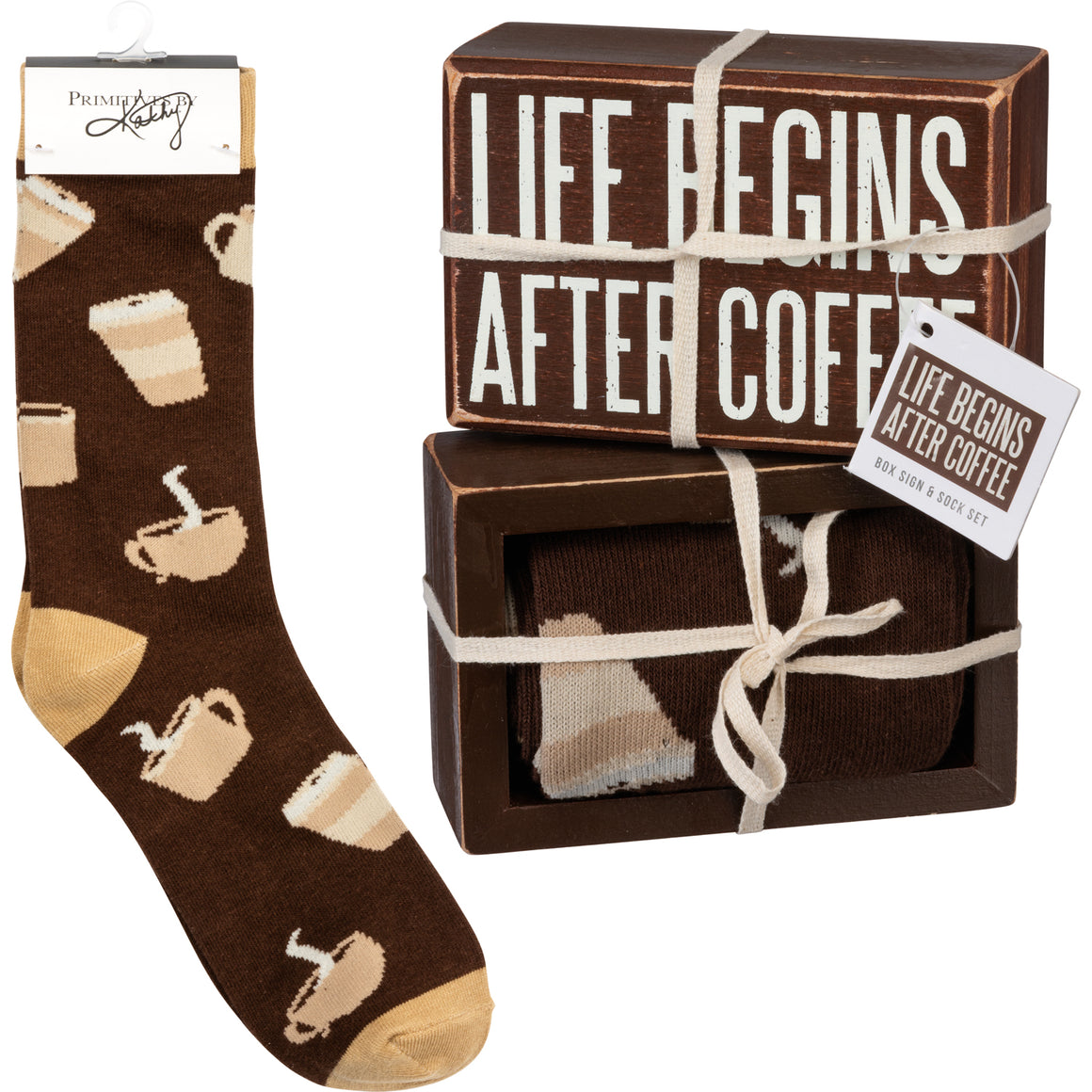 Life Begins After Coffee Socks & Box Sign Gift Set