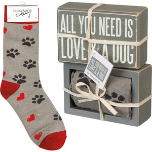 All You Need Is Love & A Dog Socks & Box Sign Gift Set