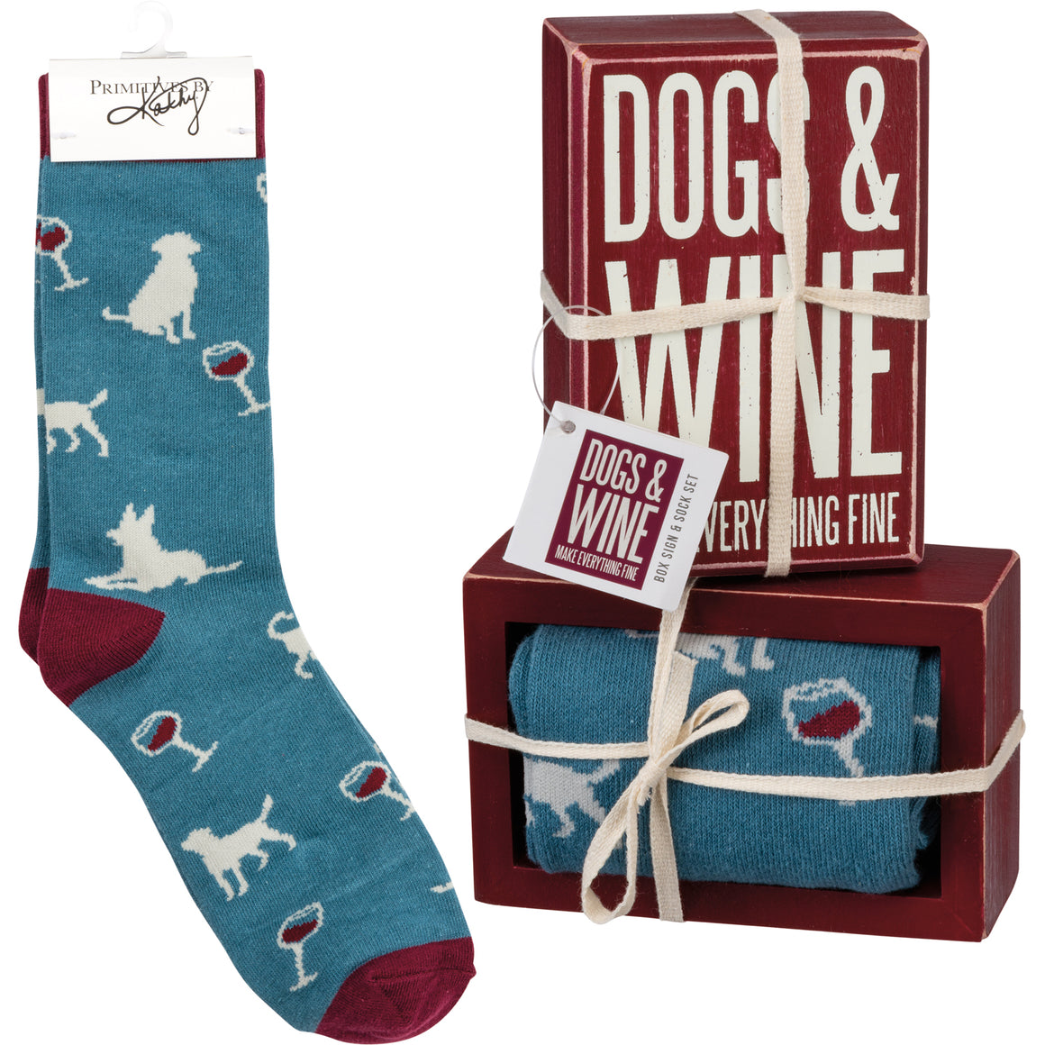 Dogs & Wine Make Everything Fine Socks & Box Sign Gift Set