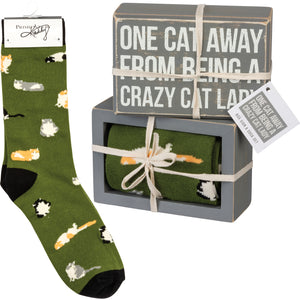 One Cat Away From Being A Crazy Cat Lady Socks & Box Sign Gift Set