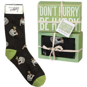 Don't Hurry Be Happy Sloth Socks & Box Sign Gift Set