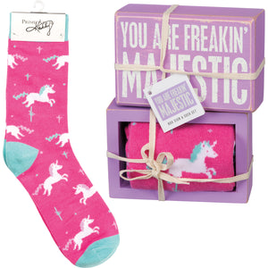 You Are Freakin' Majestic Unicorn Socks & Box Sign Gift Set