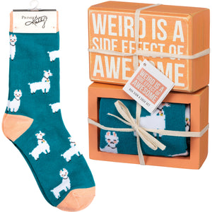 Weird Is A Side Effect Of Awesome Llama Socks & Box Sign Gift Set