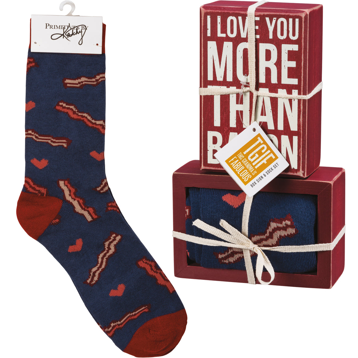 I Love You More Than Bacon Socks & Box Sign Gift Set