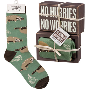No Hurries No Worries Socks & Box Sign Gift Set