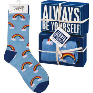 Always Be Yourself Socks & Box Sign Gift Set