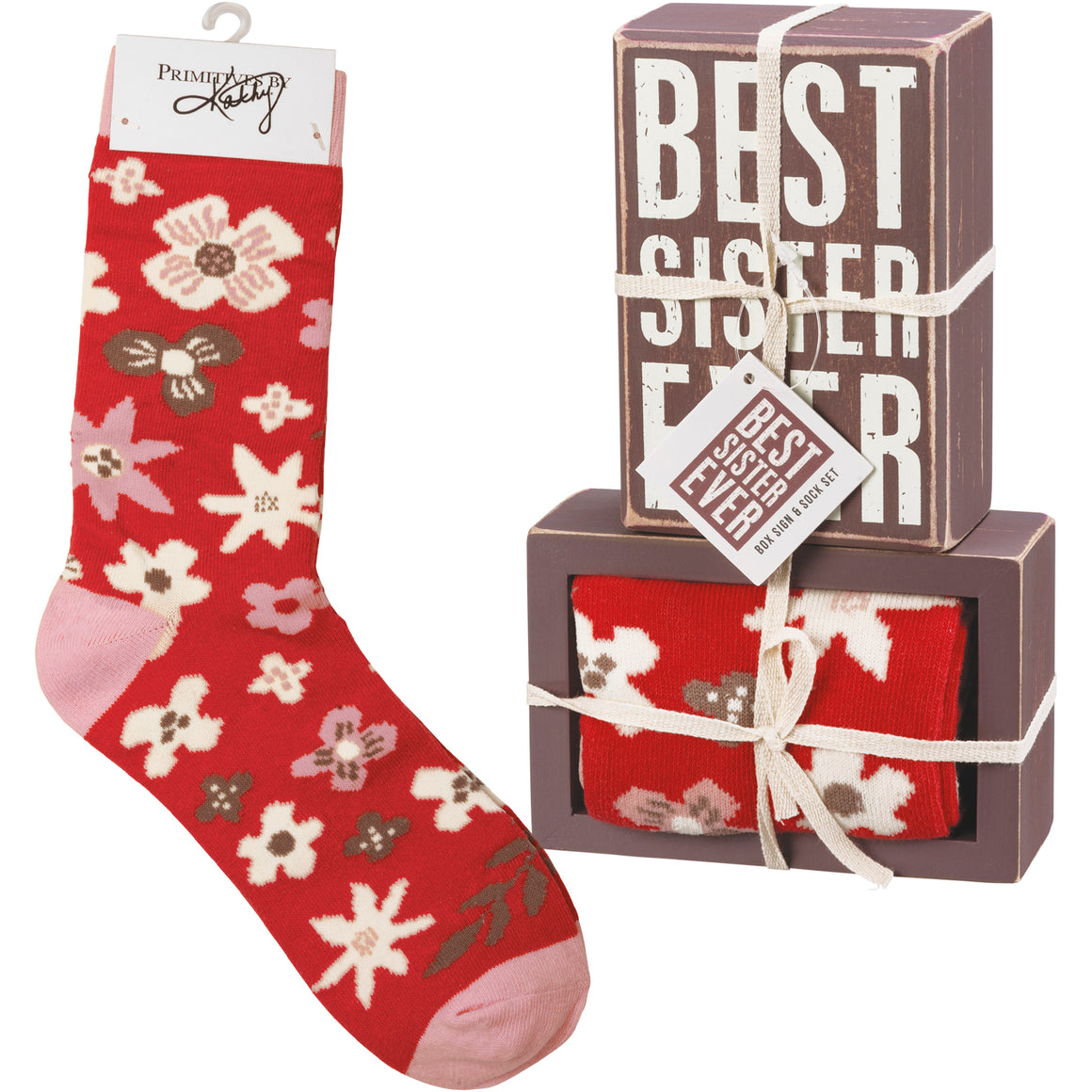 Best Sister Ever Socks & Box Sign Gift Set